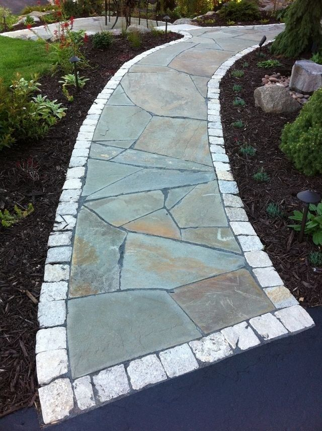 Flagstone Walkway for a Traditional Landscape with a Minnesota and Irregular Flagstone Front Walkway and Small Sitting Patio in Minnesota by English Stone