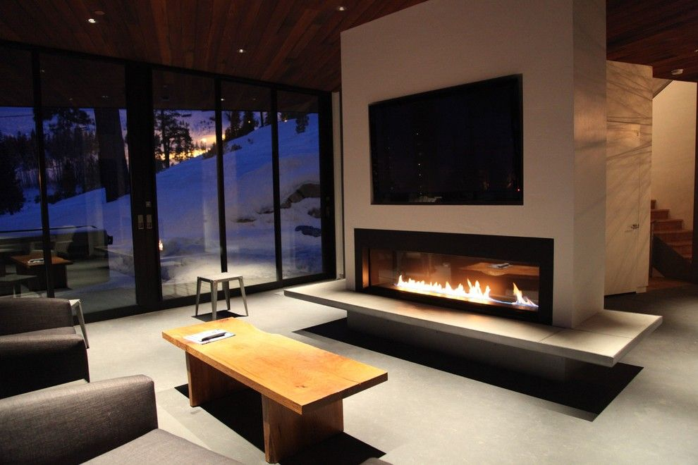 Fleetwood Windows for a Contemporary Family Room with a Gray Sofa and Squaw Valley House by Fleetwood Windows & Doors