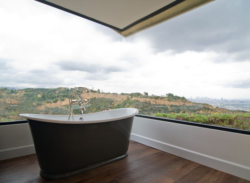 Fleetwood Windows for a Traditional Bathroom with a Los Angeles and Hollywood Hills Transitional by Janette Mallory Interior Design Inc.