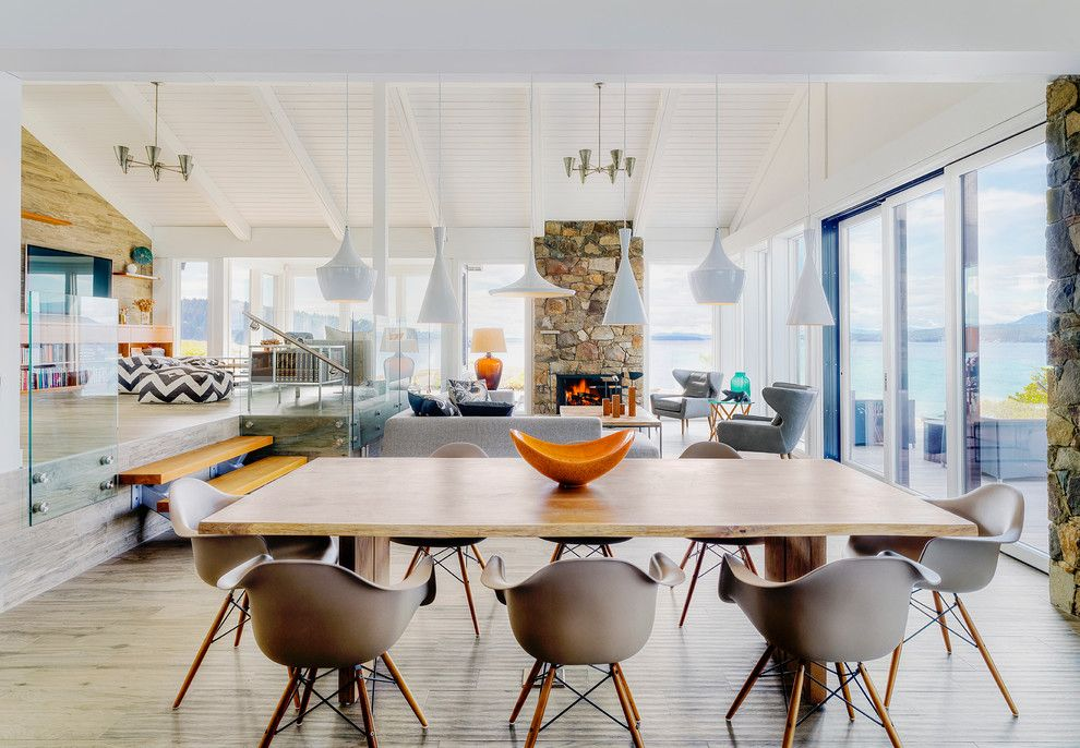 Flemington Dept Store for a Beach Style Dining Room with a Water View and Pender Island Retreat by Johnson + McLeod Design Consultants