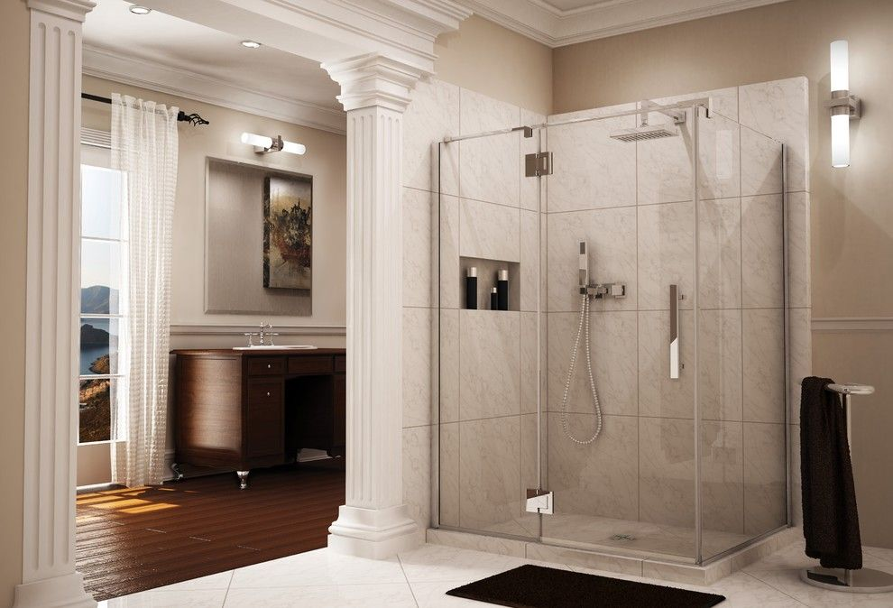Fleurco for a Traditional Bathroom with a Pivot Shower Door and Frameless Glass Shower with 3/8