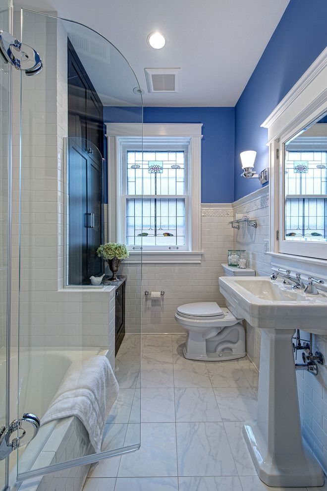 Fleurco for a Victorian Bathroom with a Leaded Glass Window and University City by Joni Spear Interior Design