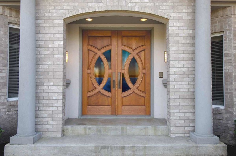 Floor and Decor Lombard for a Midcentury Entry with a Cherry Door and Exterior Doors by Elevations | Design Solutions by Myers