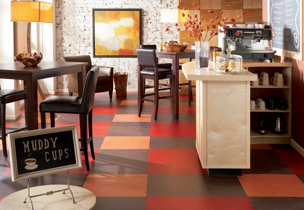 Forbo for a Contemporary Dining Room with a Pet Friendly and Forbo Marmoleum Click   Natural Linoleum Flooring by Greenbuildingsupply.com
