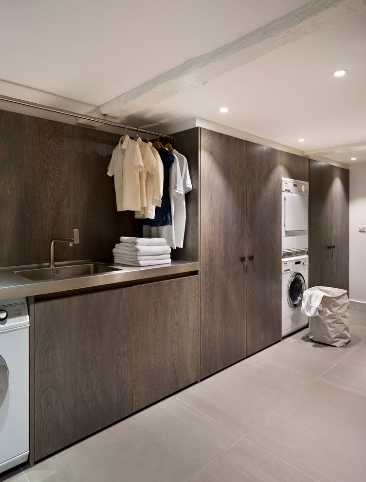 Forbo for a Contemporary Laundry Room with a Drying Rack and Teddy Edwards Bespoke Laundry Room Furniture by Teddy Edwards