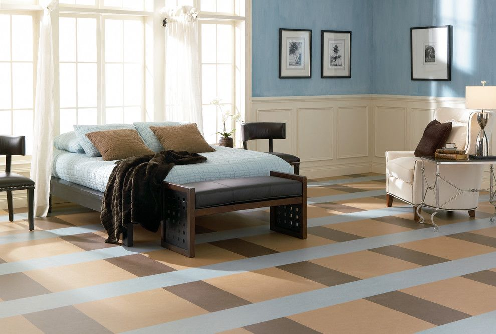 Forbo for a Modern Bedroom with a Bedroom and Forbo Marmoleum Click   Natural Linoleum Flooring by Greenbuildingsupply.com