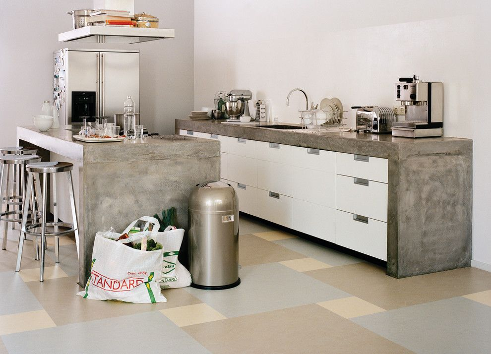 Forbo for a Modern Kitchen with a Safe and Forbo Marmoleum Click   Natural Linoleum Flooring by Greenbuildingsupply.com
