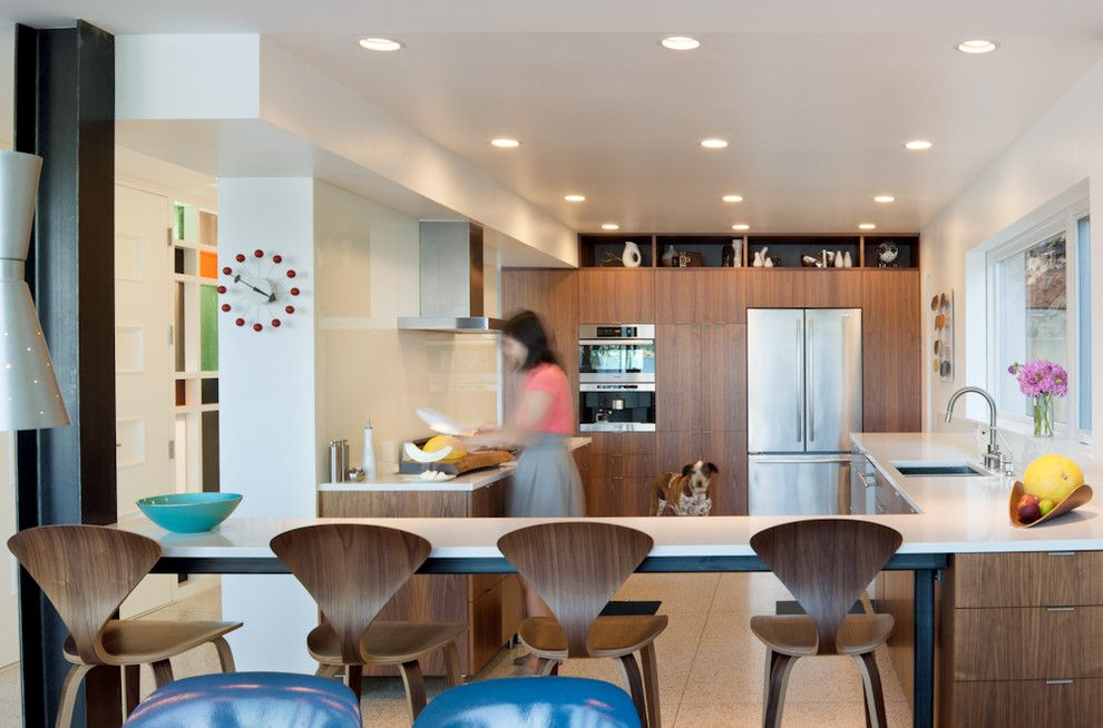 Forno Bravo for a Modern Kitchen with a Stainless Steel Appliances and Mid Century Modern on Lake Samammish by Fradkin Fine Construction, Inc.