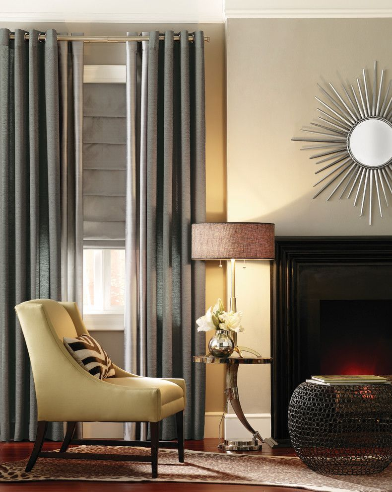 Forsyth Fabrics for a Modern Living Room with a Drapes and Metallic Drapery Panels by Budget Blinds