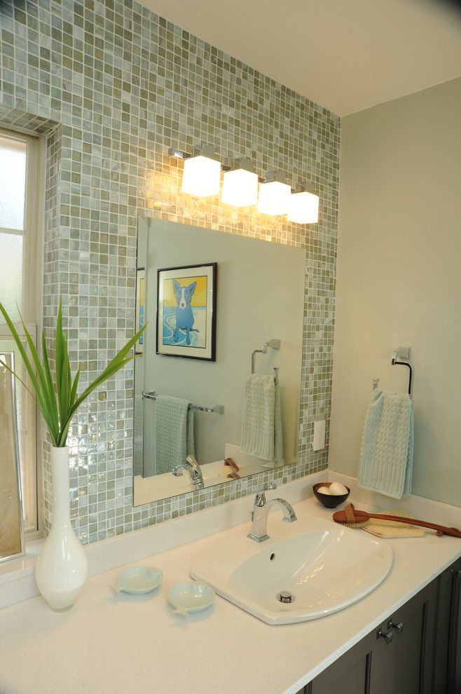 Fort Worth Lighting for a Contemporary Bathroom with a Mosaic and Typical Ranch Bath: Transformed! by in Detail Interiors