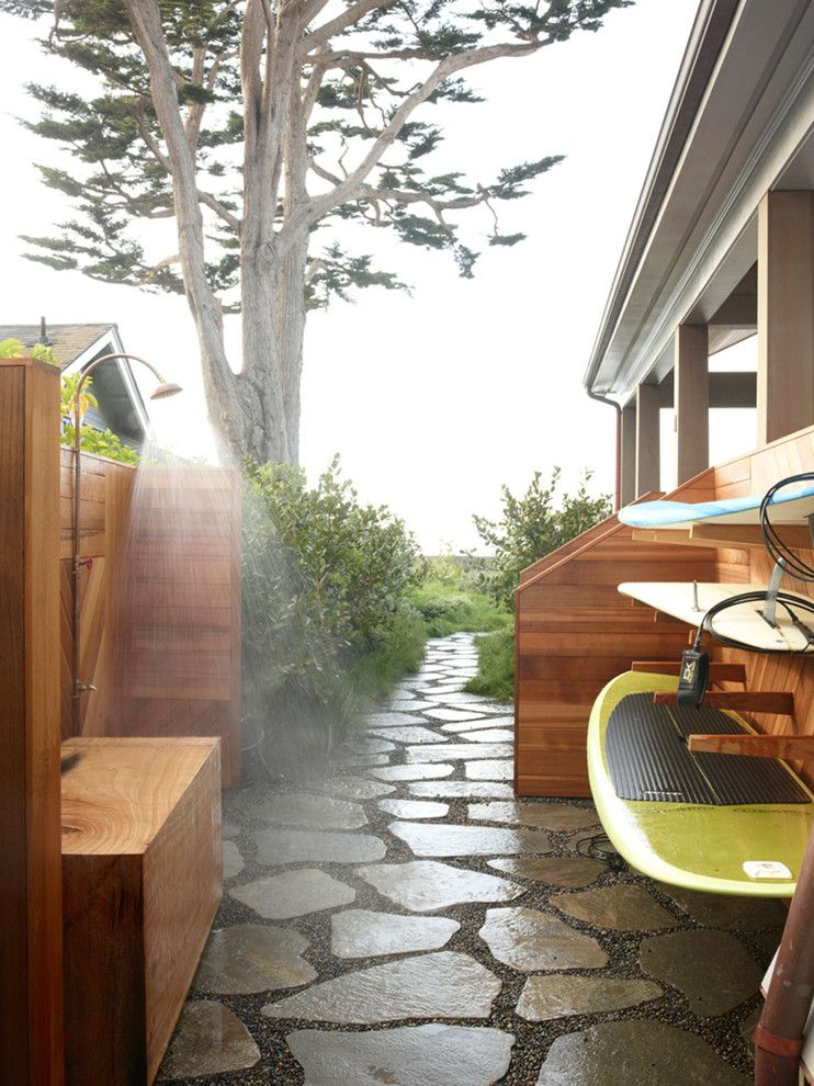 Fortunoff Backyard Store for a Beach Style Patio with a Surf Rack and Carpinteria Beach House by the Office of Charles De Lisle