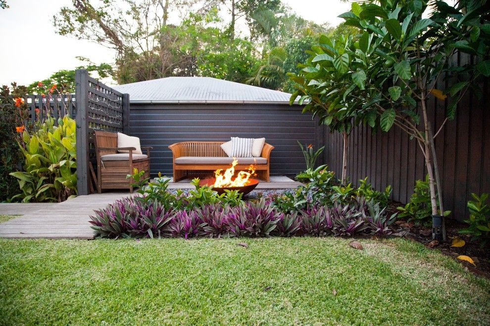 Fortunoff Backyard Store for a Tropical Patio with a Lattice and Cooparoo 3 by Utopia Landscape Design