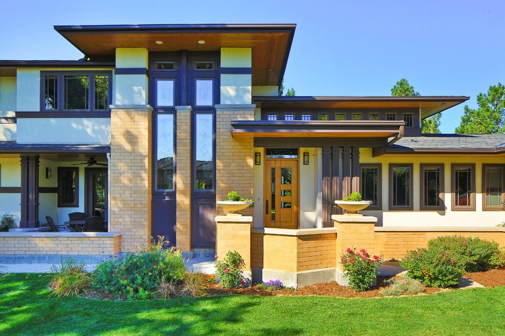 Frank Lloyd Wright Falling Water for a Craftsman Entry with a Frank Lloyd Wright and Frank Lloyd Wright Inspired House by Porchfront Homes