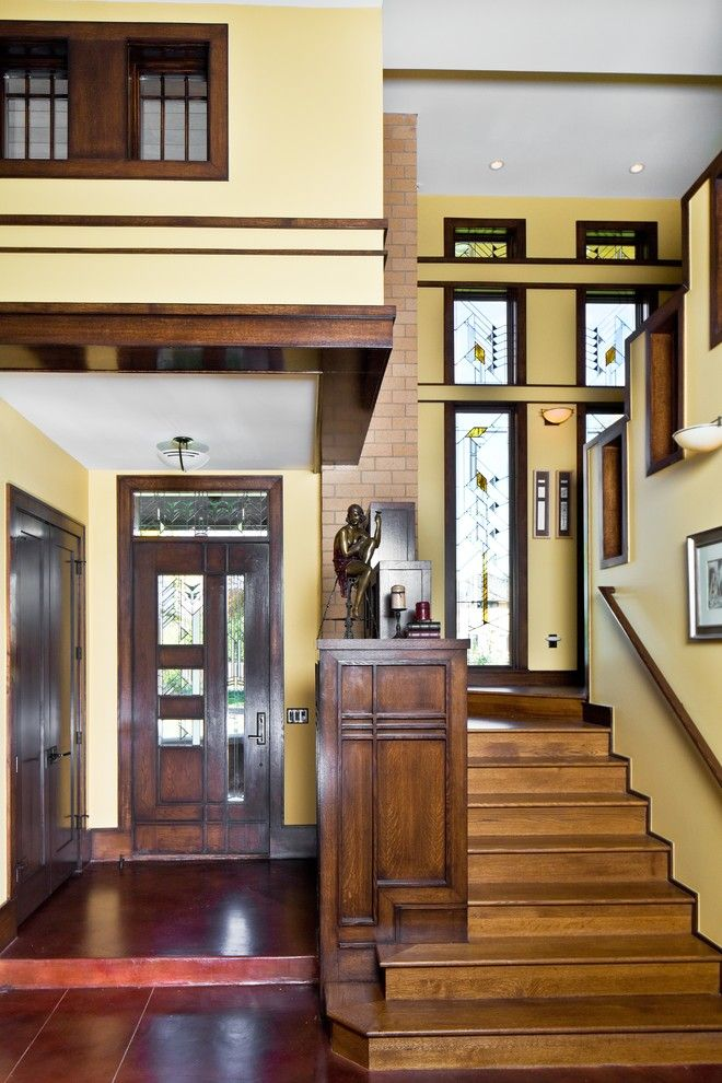 Frank Lloyd Wright Falling Water for a Craftsman Entry with a Windows and Frank Lloyd Wright Inspired House by Porchfront Homes