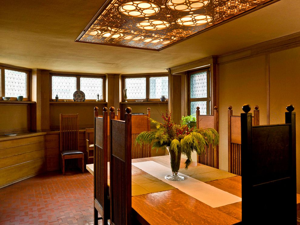 Frank Lloyd Wright Falling Water for a Traditional Dining Room with a Crown Molding and Frank Lloyd Wright Home & Studio by Cynthia Lynn Photography