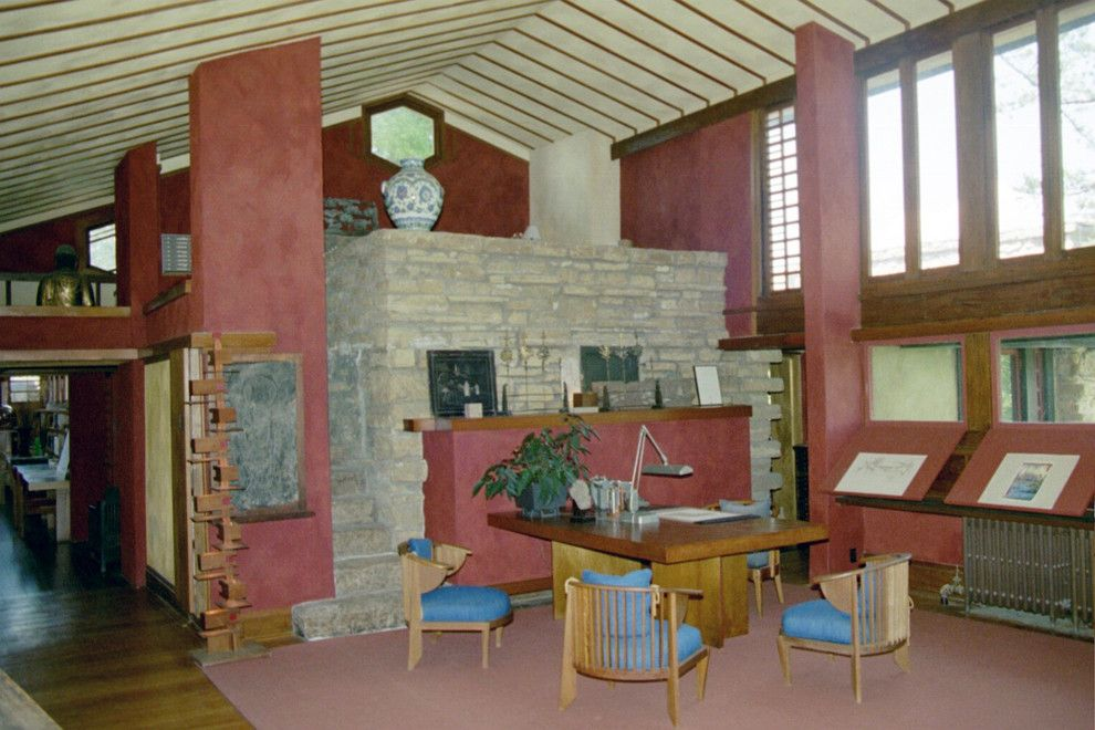 Frank Lloyd Wright Home and Studio for a  Home Office with a Frank Lloyd Wright and Mr. Wright's Studio by Taliesin Preservation, Inc.
