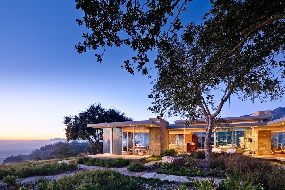 Frank Lloyd Wright Home and Studio for a Modern Exterior with a Trees and Carpinteria Foothills Residence by Neumann Mendro Andrulaitis Architects Llp