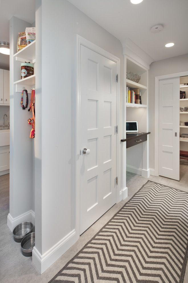 Franklin Building Supply for a Transitional Hall with a Canine and Trim Kitchen by Anthony Wilder Design/build, Inc.