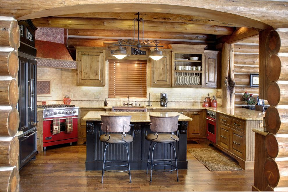 Freds Appliance for a Rustic Kitchen with a Wood Home and Rora Rustic by Rocky Mountain Homes