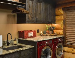 Freds Appliance for a Rustic Laundry Room with a Bunk Beds and Star Prairie Lake Home by Lake Country Builders