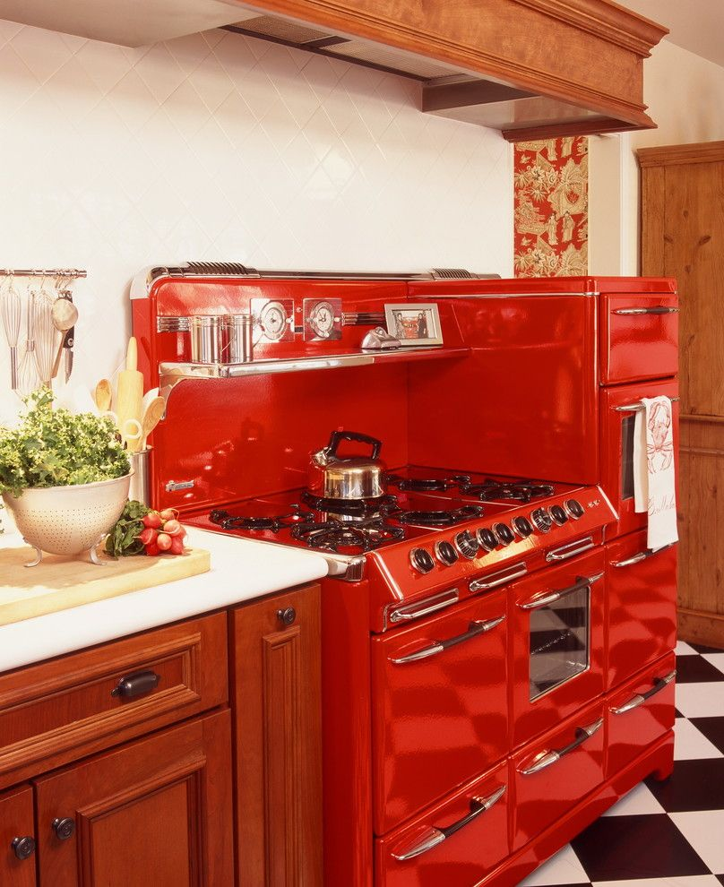 Freds Appliance for a Traditional Kitchen with a Thassos Marble and 1947 O'keefe & Merritt Town and Country Stove Required a Custom Exhaust Hood by Moore About... Design