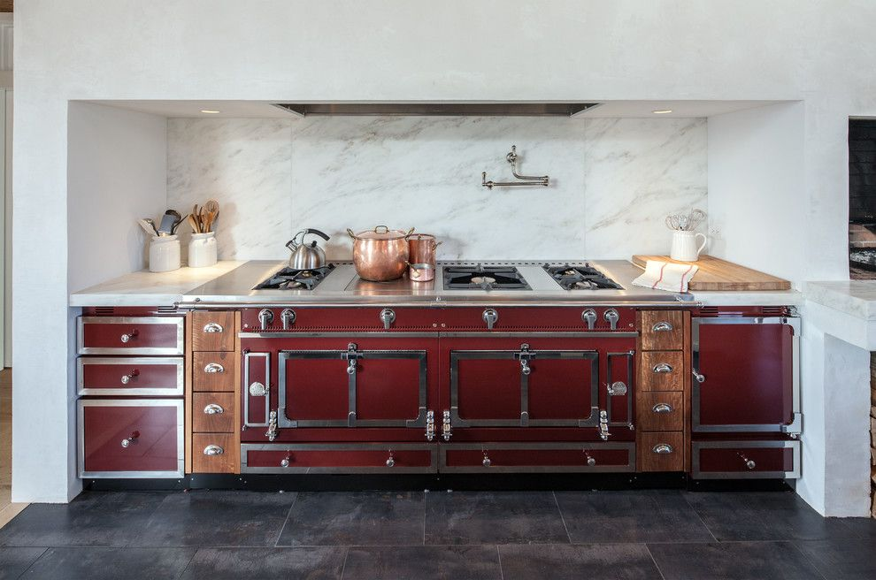 Freds Appliance for a Traditional Kitchen with a Vintage Style and Vintage Barn Frame Addition to Dutch Stone House by Kate Johns Aia