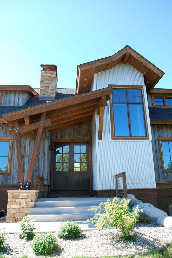 Front Porch Denver for a Contemporary Exterior with a Wood Ceiling Overhang and Eagle Ranch   West Doublehitch by Holy Cross Custom Builders, Llc