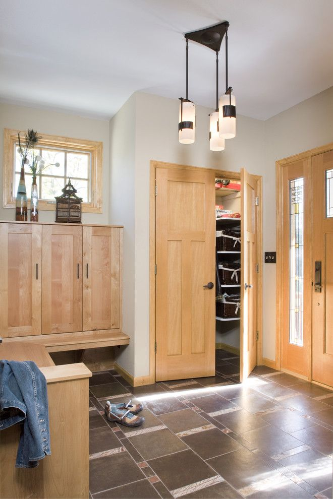 Front Porch Denver for a Craftsman Entry with a Ceiling Lamp and Craftsman Foyer by Lawrence and Gomez Architects