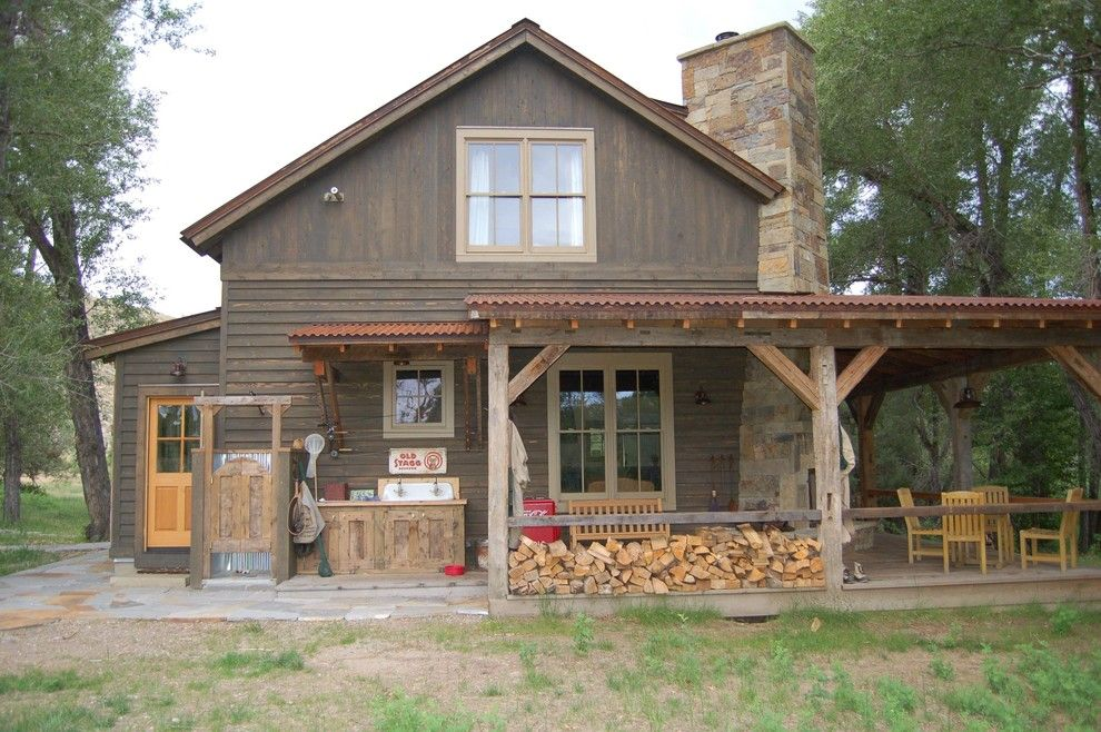 Front Porch Denver For A Rustic Exterior With A Chimney