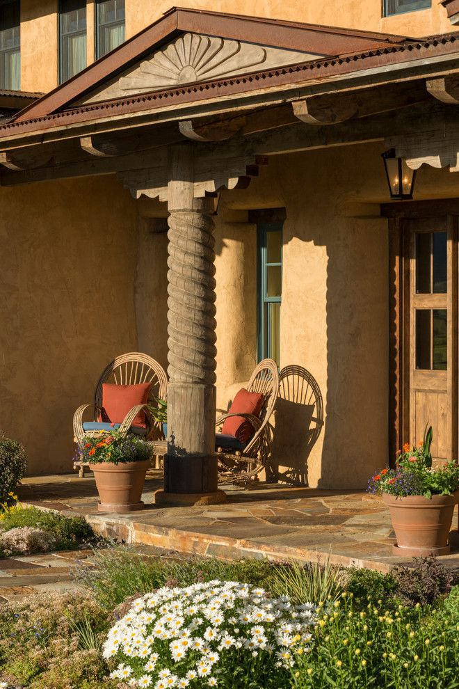 Front Porch Denver for a Southwestern Porch with a Sunlight and Transitional New Mexico Territorial House by Lynne Barton Bier   Home on the Range Interiors