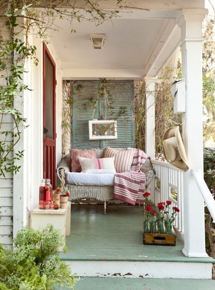 Front Porch Designs for a Shabby Chic Style Porch with a Green Floor and Vintage Inspired Inglewood Cottage by Tumbleweed and Dandelion.com