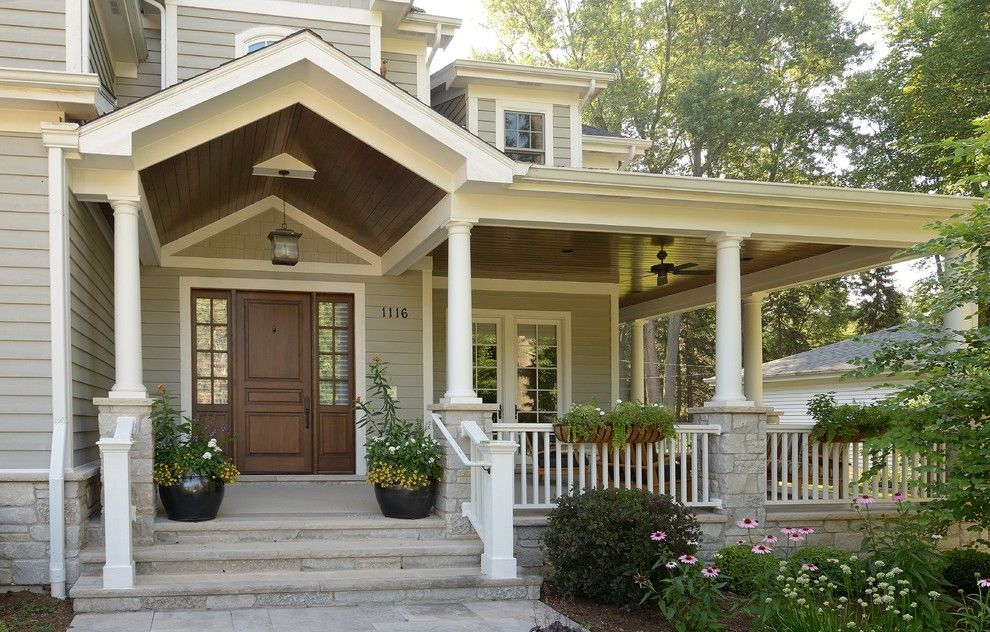 Front Porch Designs for a Traditional Entry with a White and Wright by Siena Custom Builders, Inc.