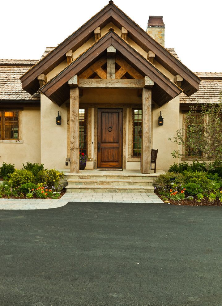 Front Stoop for a Rustic Entry with a Front Porch and Hailey Residence by Gravitas, Inc.