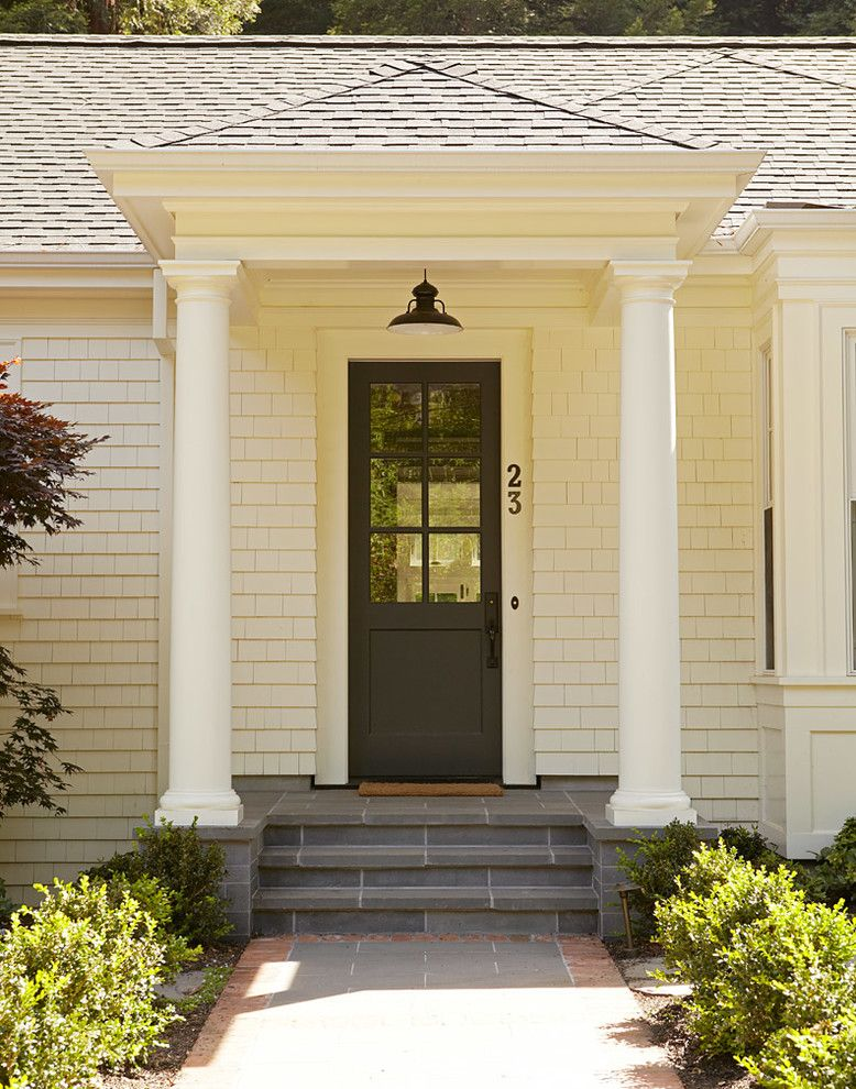 Front Stoop for a Traditional Entry with a Glass Panel Door and Mill Valley Residence by Rasmussen Construction