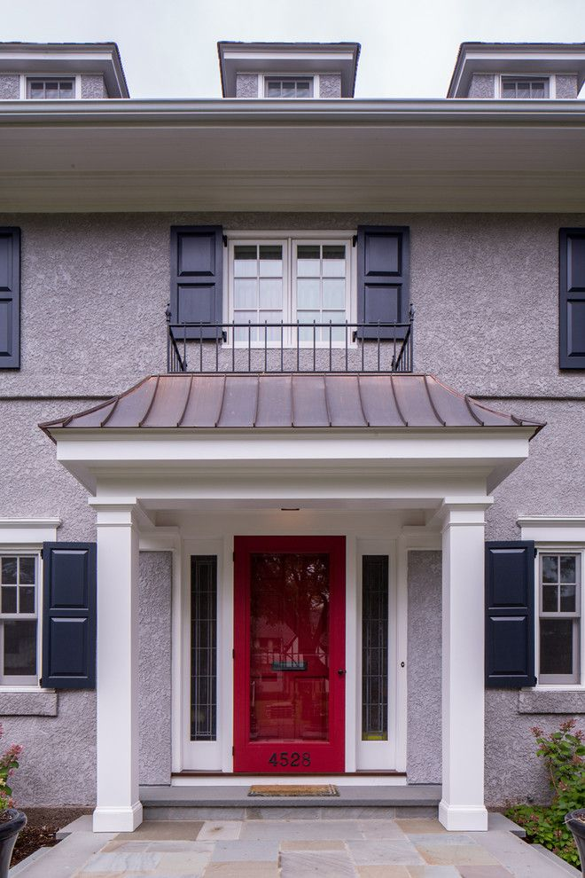 Front Stoop for a Traditional Entry with a Red Front Door and Traditional Entry by Quartersawndesignbuild.com