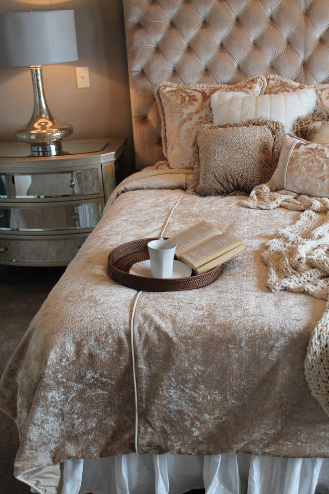 Furniture on Consignment Wichita Ks for a Transitional Bedroom with a Tufted Headboard and Parade of Homes by Design Source Interiors
