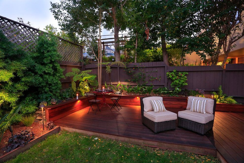 Fx Luminaire for a Contemporary Deck with a Lawn and Potrero Hill Backyard by Paul English Landscaping