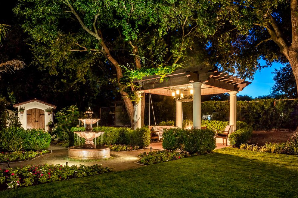 Fx Luminaire for a Mediterranean Landscape with a Trellis and Beneath Starry Skies by Casa Smith Designs, Llc