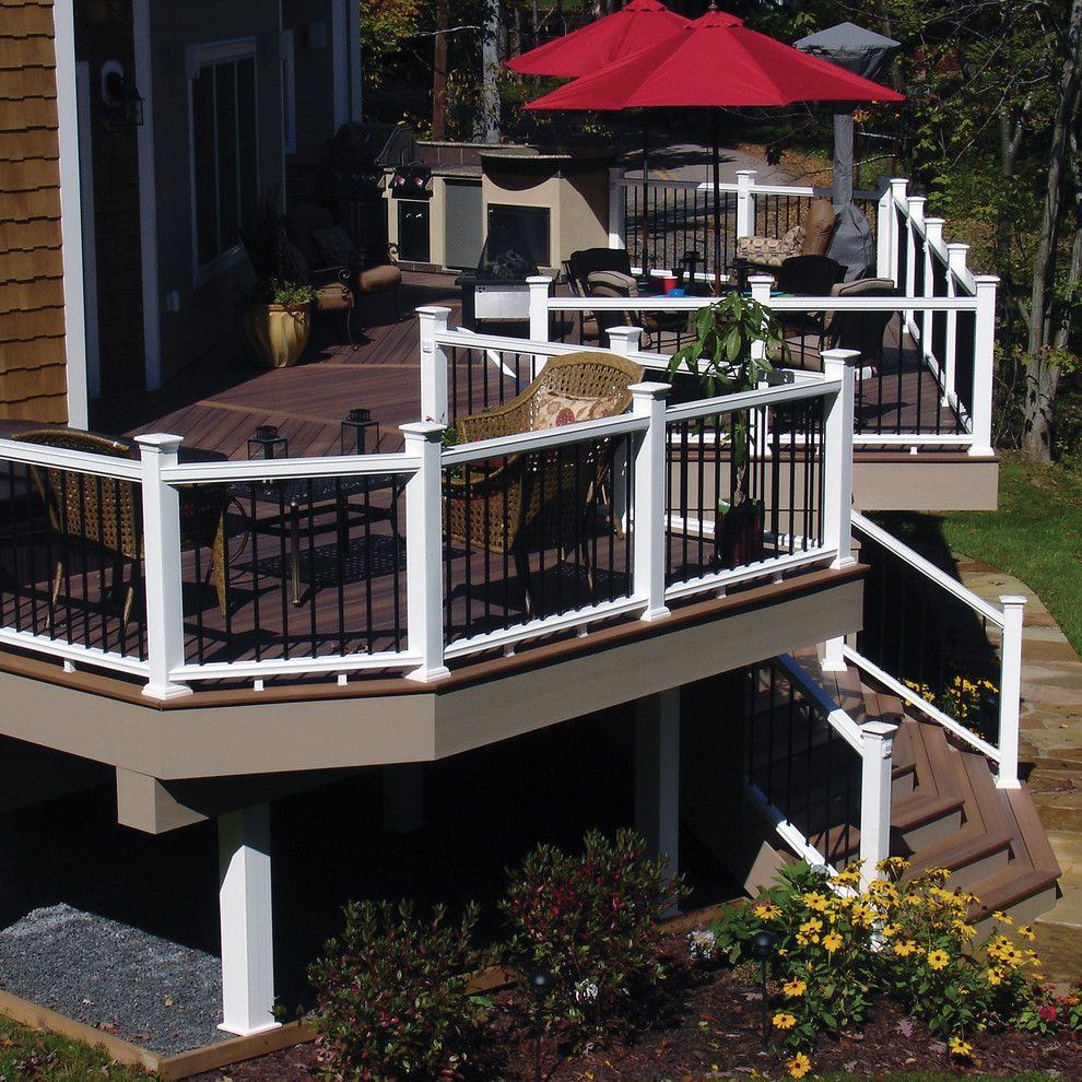 Gables Upper Kirby for a  Deck with a Red Umbrella and Fiberon by Fiberon Decking