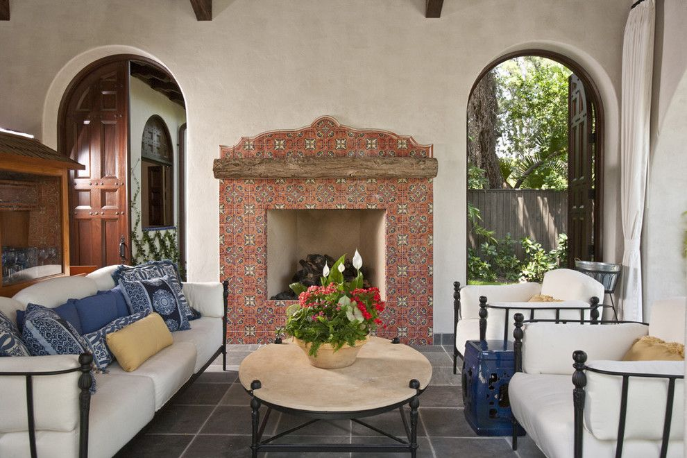 Galleria Furniture for a Southwestern Porch with a Rustic and Mediterranena by Chandos Interiors