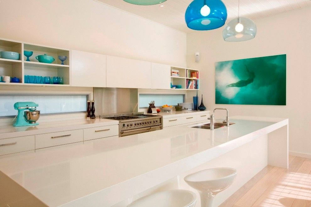 Galley Kitchen for a Contemporary Kitchen with a Translucent Glass and Manly Beach House by Sanctum Design
