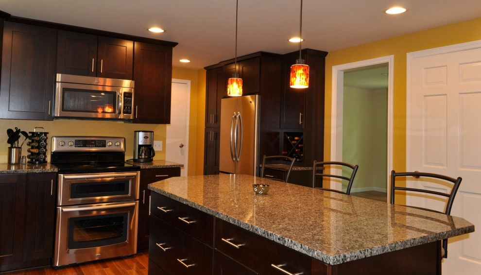 Galley Kitchen Ideas for a  Kitchen with a Multi Light Pendant and Gallery by Innovations by Vp