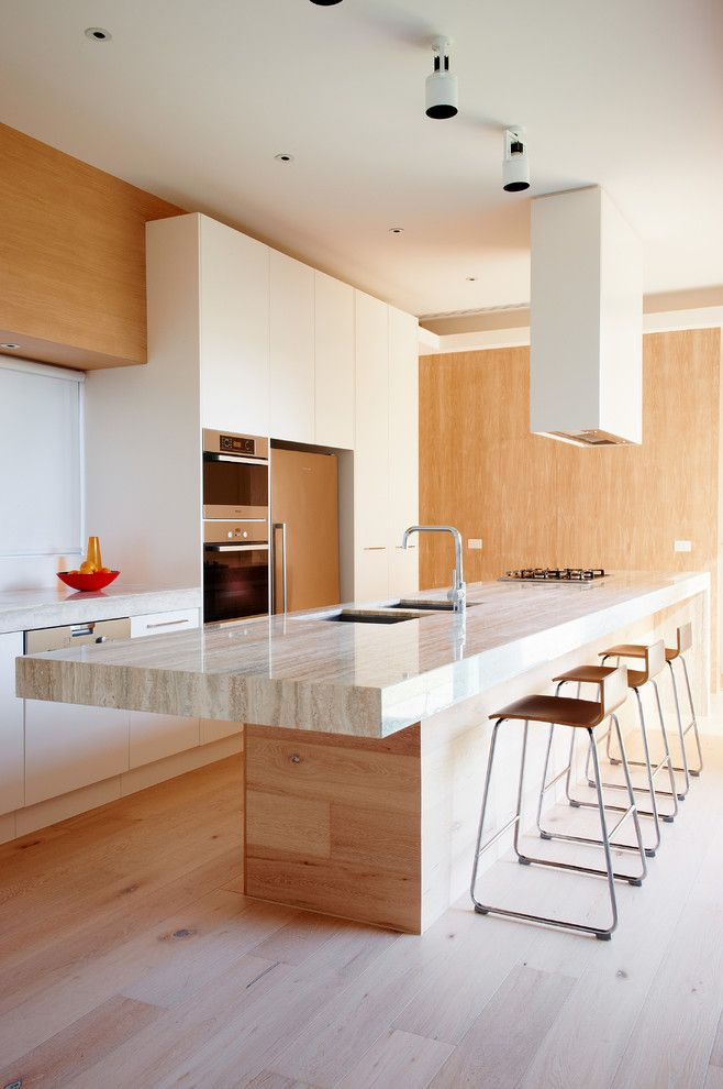 Galley Kitchens for a Modern Kitchen with a Travertine and Bindi's House by David Edelman Architects