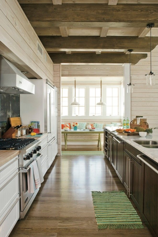 Galley Sink for a Beach Style Kitchen with a White Countertop and Southern Living Photos by Southern Living