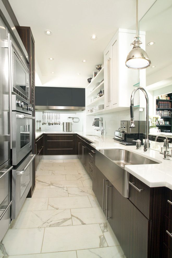 Galley Sink for a Contemporary Kitchen with a Galley Kitchen and Galley Kitchen by Arnal Photography
