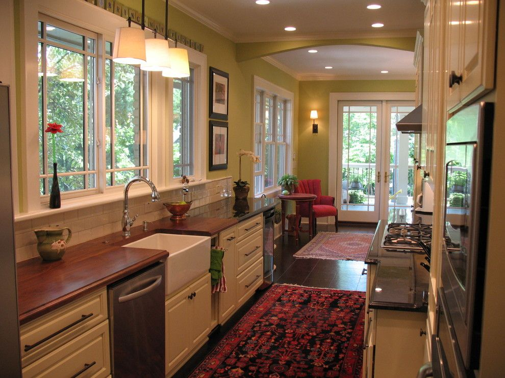 Galley Sink for a Traditional Kitchen with a Persian Rug and Pamela Foster by Pamela Foster & Associates, Inc.