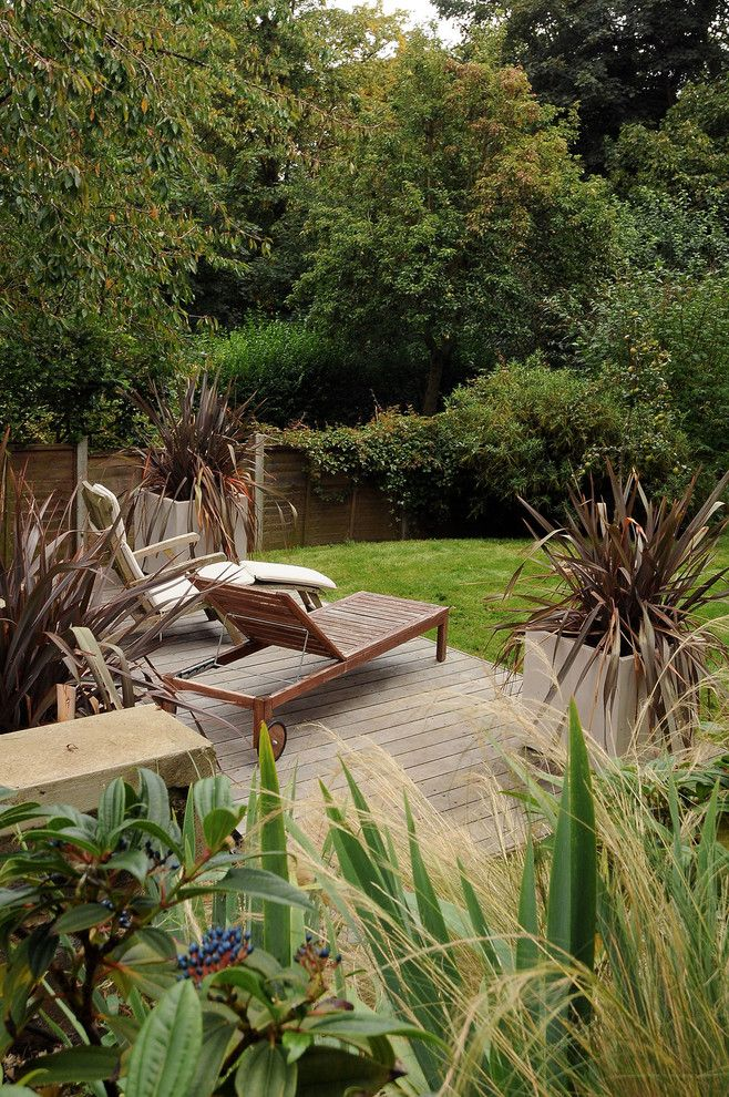 Gardiners Furniture for a Contemporary Patio with a Outdoor Floor Planters and Garden Design Crystal Palace, South London 1 by Kate Eyre Garden Design