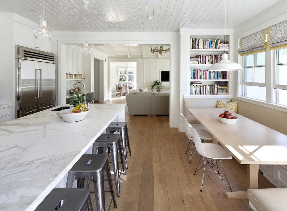 Gardner White Clearance for a Farmhouse Kitchen with a Rectangular Dining Table and Shades of White by Sdg Architecture, Inc.
