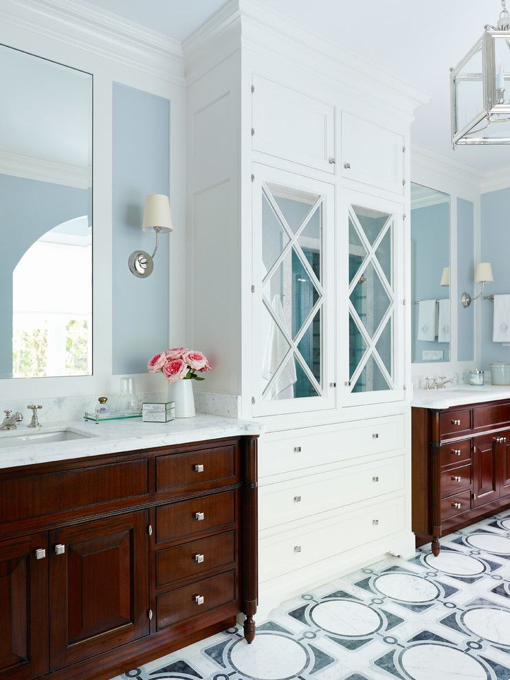 Gardner White Clearance for a Victorian Bathroom with a Double Vanity and Shingle Style by Andrew Howard Interior Design