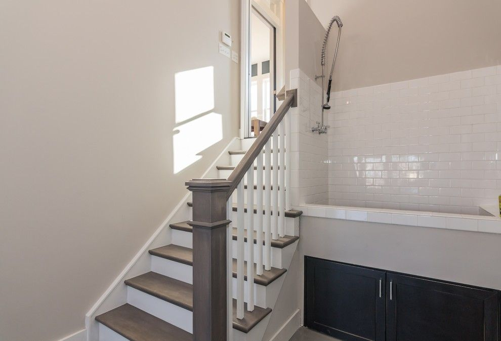 Garman Homes for a Transitional Staircase with a Kitchen and Garman Homes - Briar Chapel Model - the Overachiever by Garman Homes